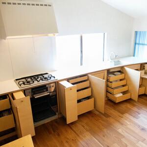 ワンキッチンの手作りキッチン